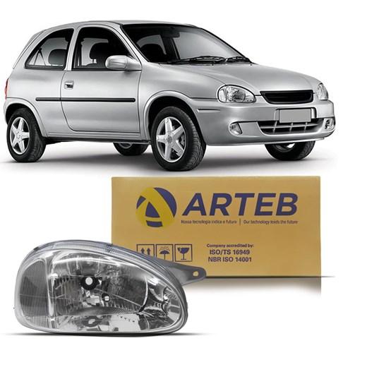 Farol Corsa 2000 a 2002 Classic 2000 a 2009 Carcaça Cinza Arteb Lado Direito (Passageiro)