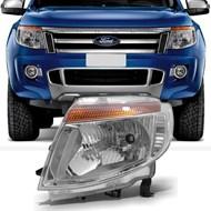 Farol Ford Ranger 2013 2014 2015 2016 Cromado Lado Esquerdo (Motorista)