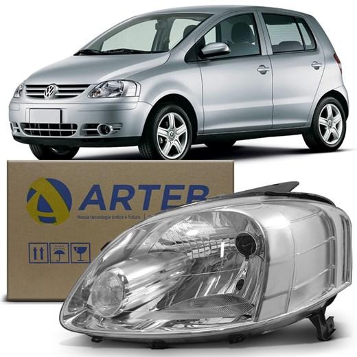 Farol Fox 2003 2004 2005 2006 Cromado Arteb Lado Esquerdo (Motorista)