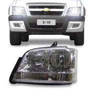 Farol S10 Blazer 2001 2002 2003 2004 2005 2006 2007 2008 2009 2010 2011 Máscara Cromada com Pisca Cristal Lado Esquerdo (Motorista)